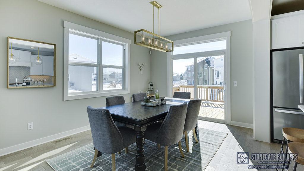 Modern grey kitchen dining area