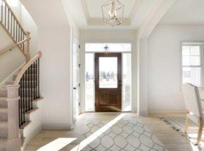 Open foyer of home with dark wood door