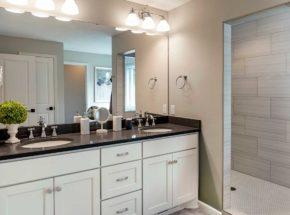 Double vanity in bathroom with walk in shower