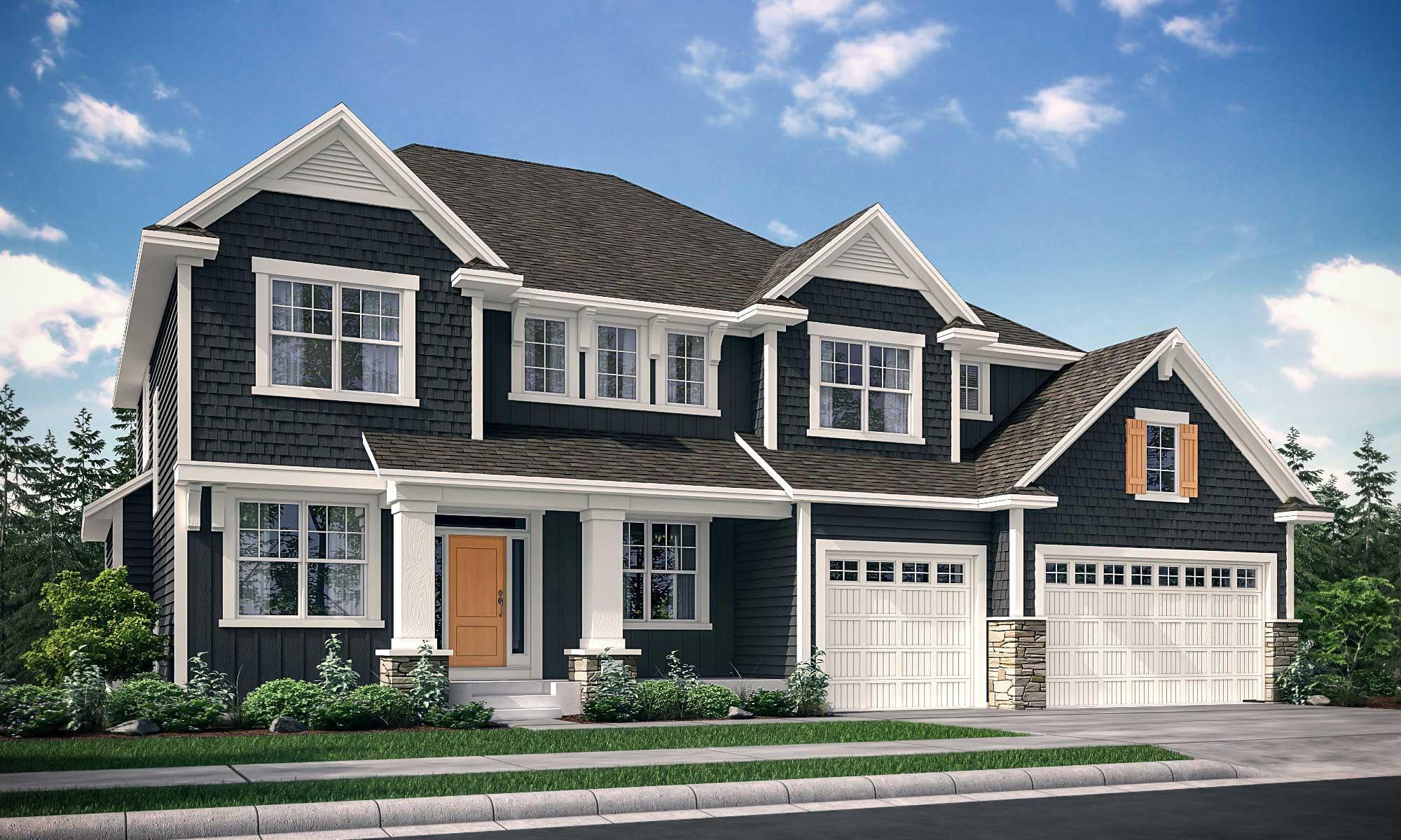 Exterior rendering of home with Nokomis B design