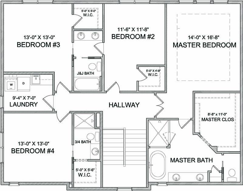Upper level floor plan of Harriet A