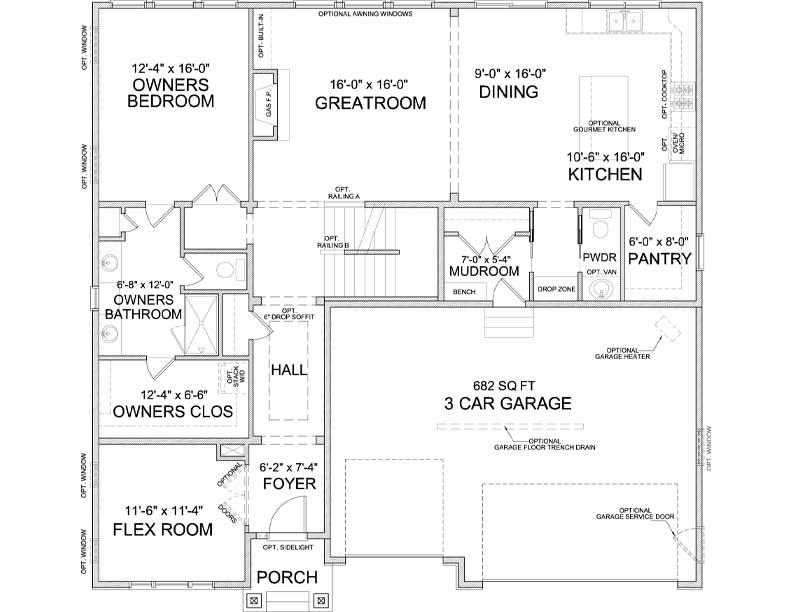 Main level floor plan of Auburn A