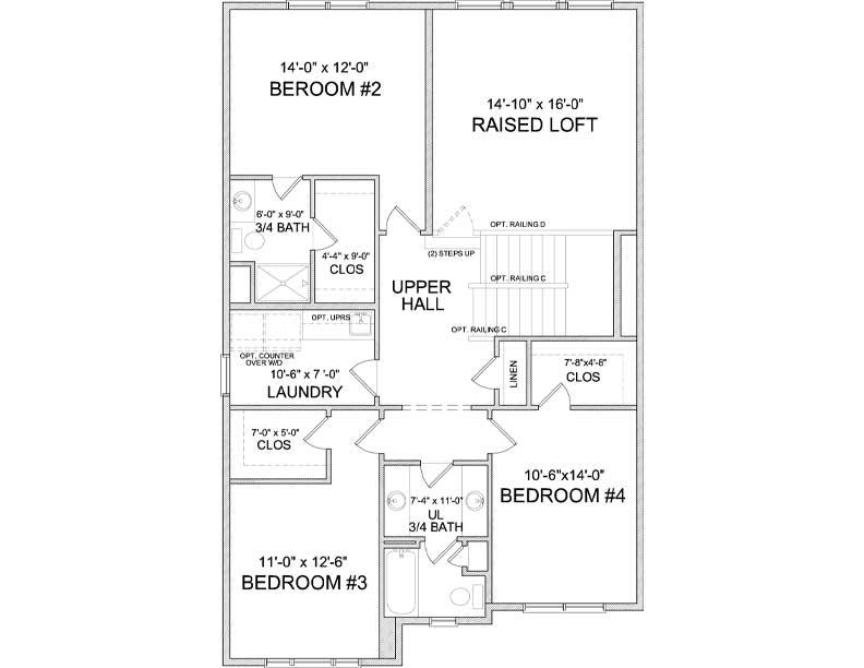 Upper level floor plan of Auburn A