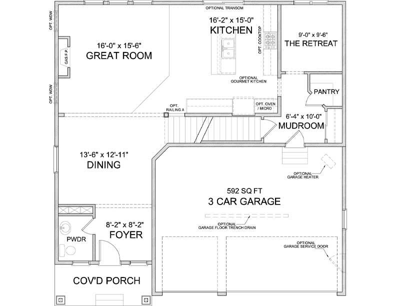 Main level floor plan of Carmen A