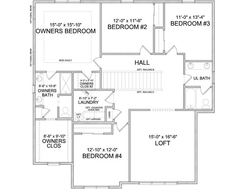 Upper level floor plan of Carmen A