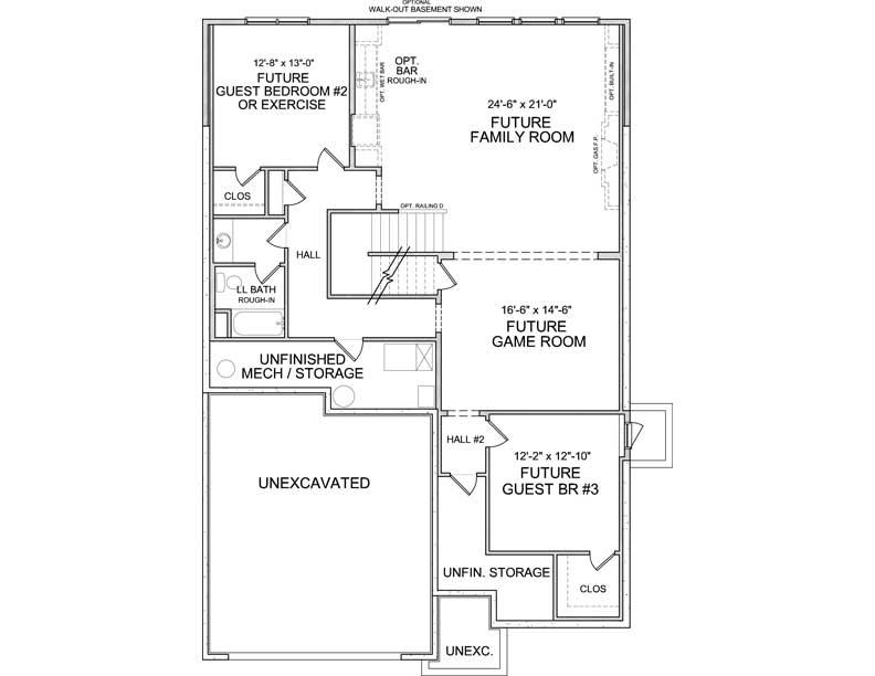 Lower level floor plan of Halstead A