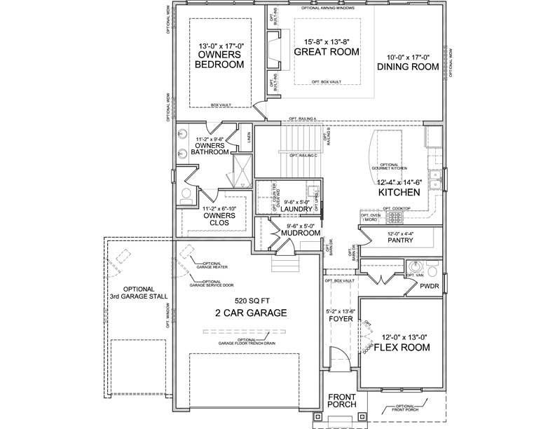 Main level floor plan of Halstead A