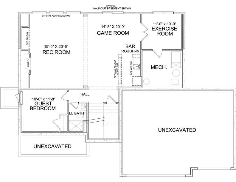 Lower level floor plan of Harriet A