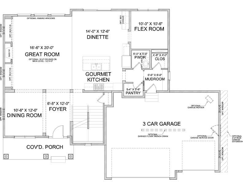 Main level floor plan of Harriet A
