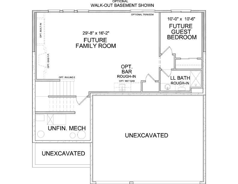 Lower level floor plan of Harrison A