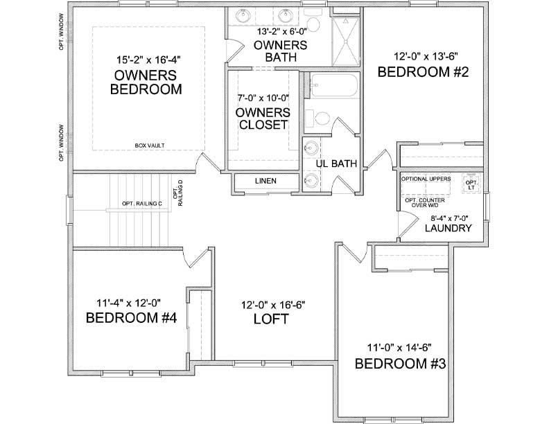 Upper level floor plan of Harrison A