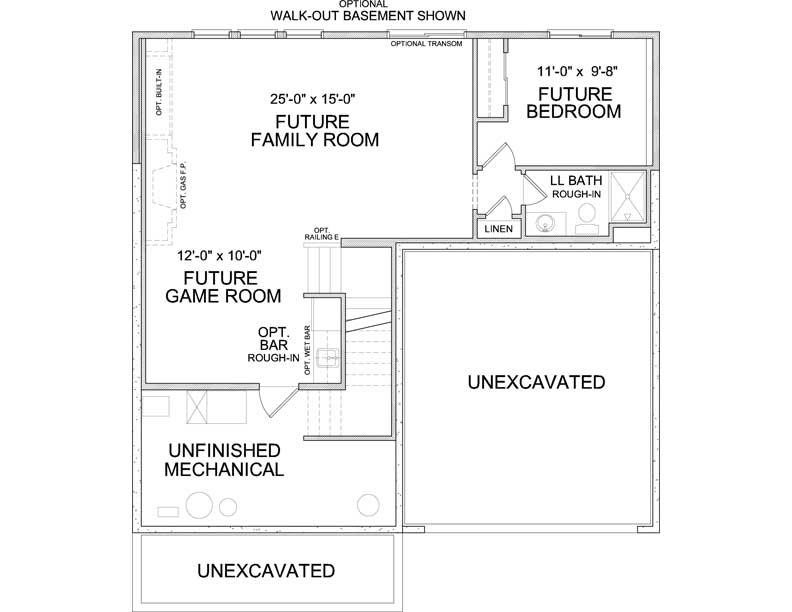 Lower level floor plan of Jennings A