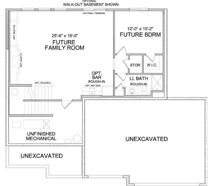 Lower level floor plan of Langden A