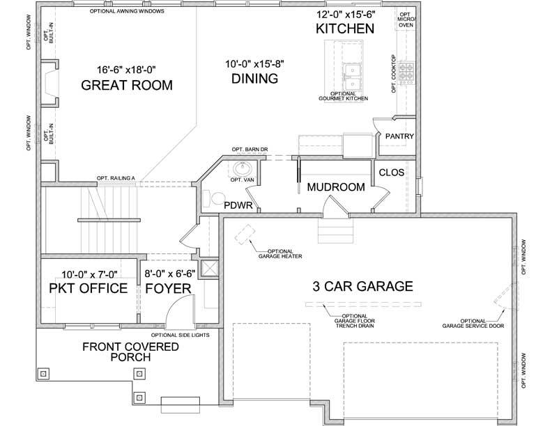 Main level floor plan of Langden A