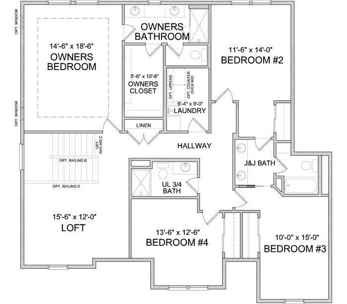 Upper level floor plan of Langden A