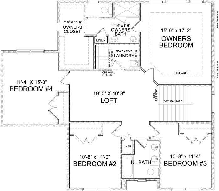 Upper level floor plan of Marion A
