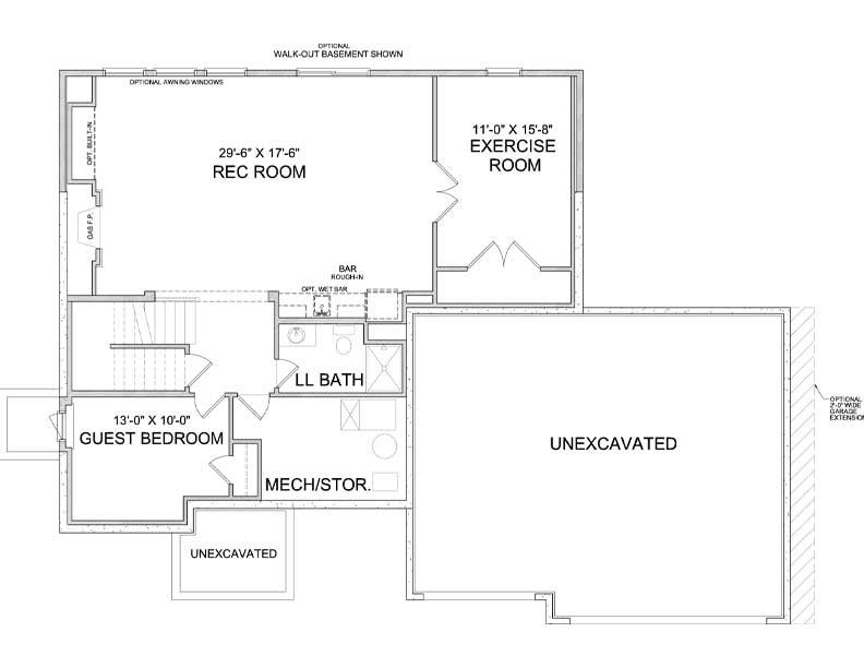 Lower level floor plan of Nokomis A