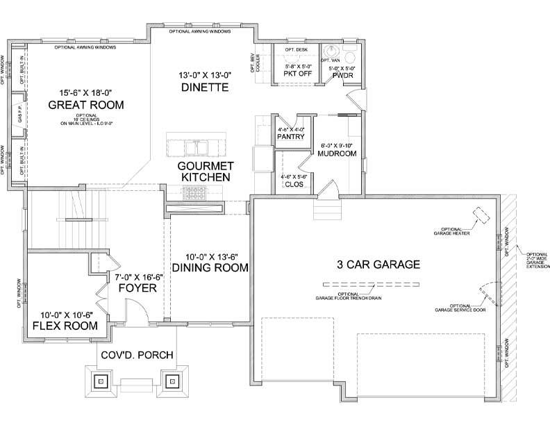 Main level floor plan of Nokomis A