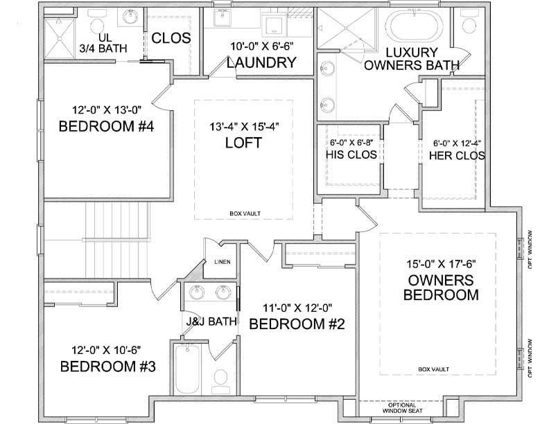Upper level floor plan of Nokomis A