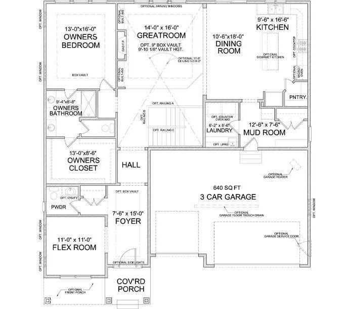 Main level floor plan of Palmer A