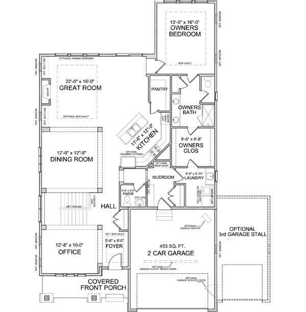 Main level floor plan of Smithtown A