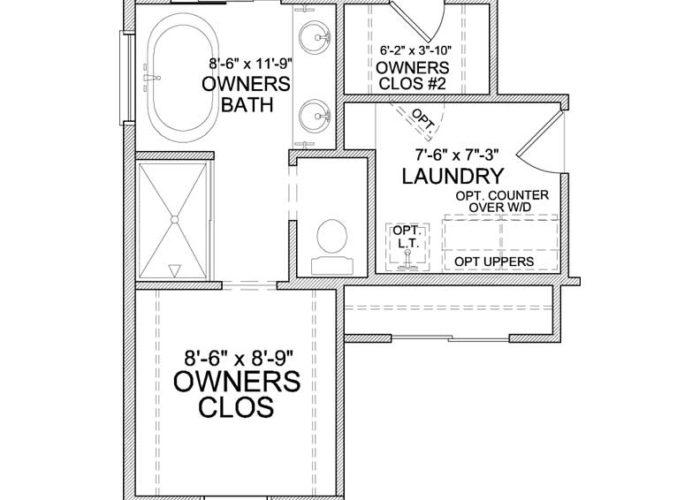 Carmen Plan Upper Level Owners Bath Option 2