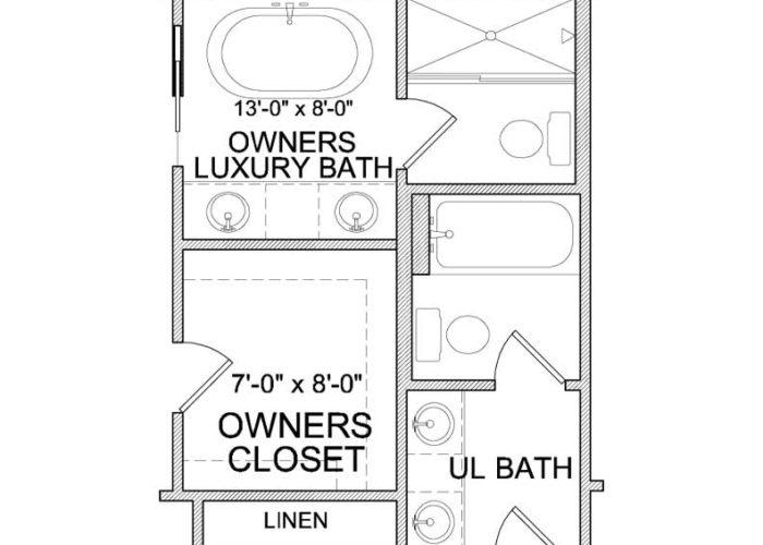 Harrison Plan Upper Level Owners Bath Option 2