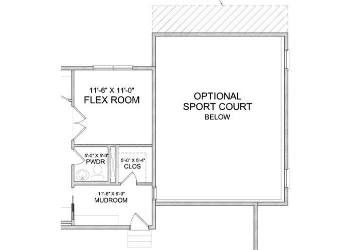 Itasca Plan Main Level Sportcourt Option 6
