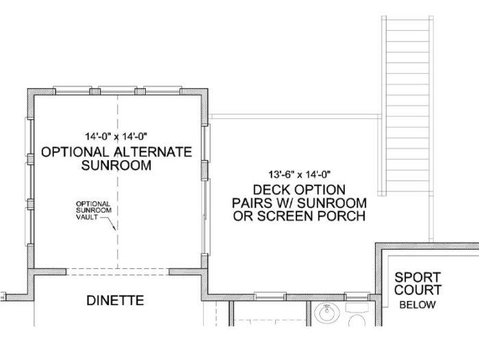 Nokomis Plan Main Level Deck and Sportcourt Option 2 C