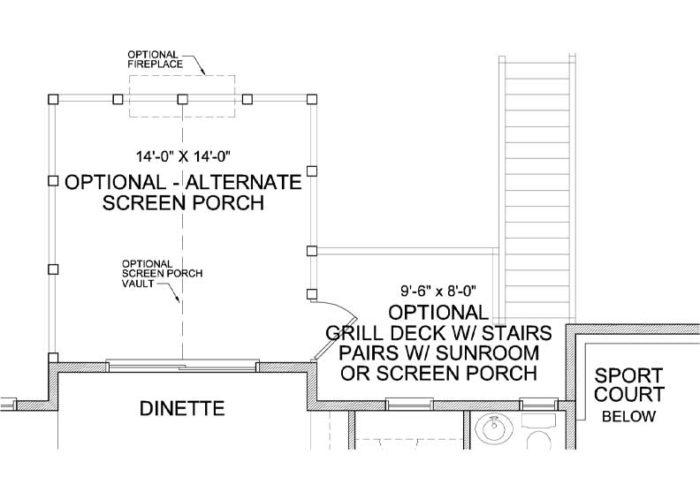 Nokomis Plan Main Level Deck and Sportcourt Option 2 B