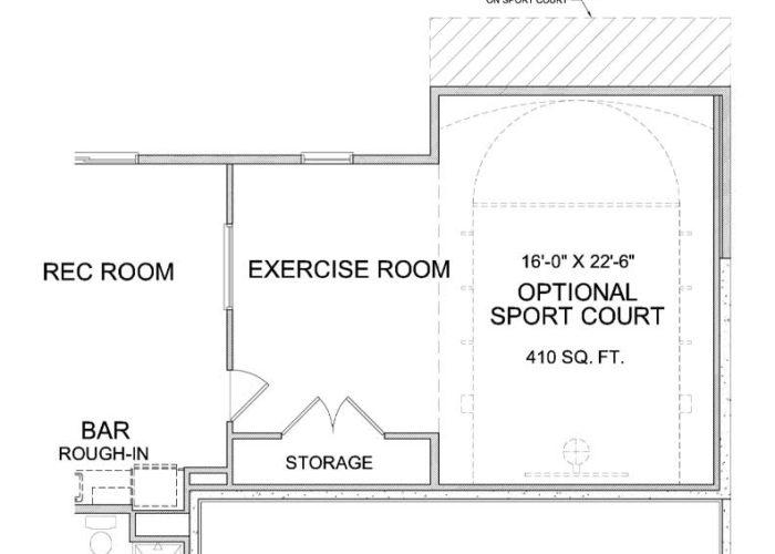 Nokomis Plan Lower Level Sportcourt and Exercise Room Option 1