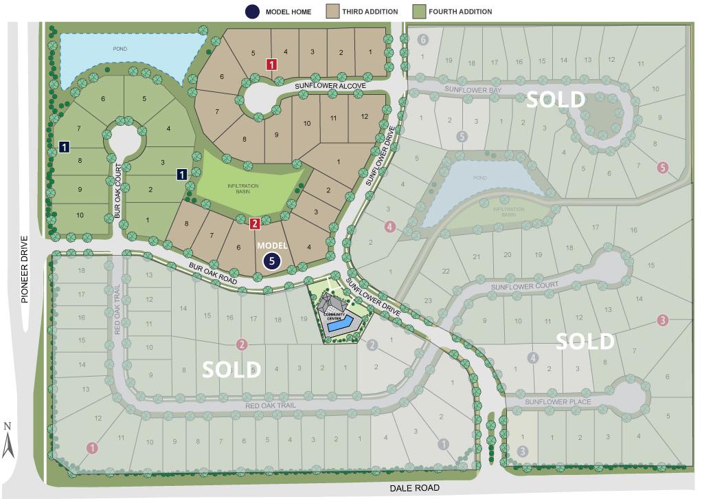 Site map of Twenty One Oaks neighborhood
