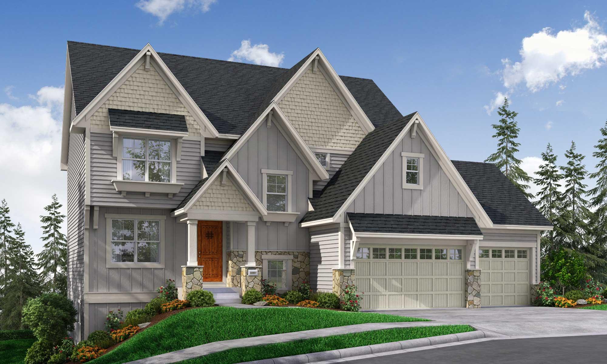 Exterior rendering of home with Harriet D design