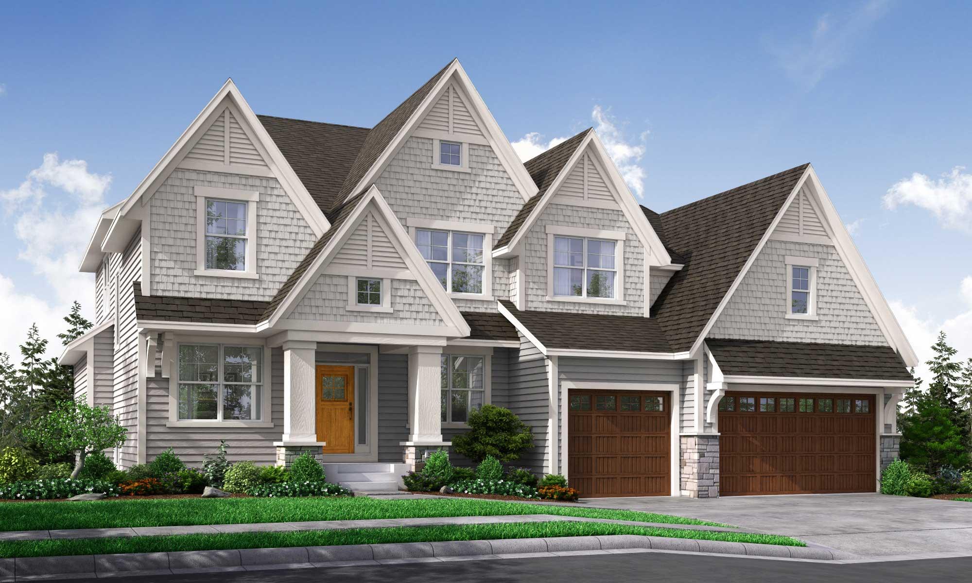 Exterior rendering of home with Nokomis Elevation D design