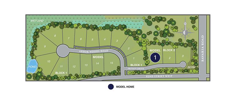 Site map of Arbor Woods neighborhood